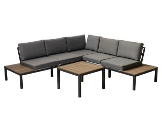 Hliníkový záhradný nábytok Clemenze - čierna / tmavosivá