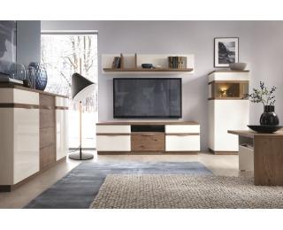 Obývacia izba Como - biely vysoký lesk / dub Como