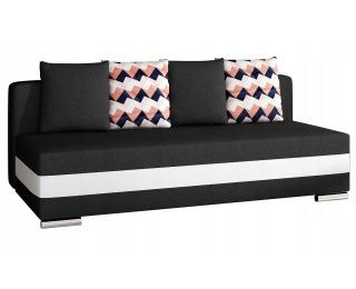 Rozkladacia pohovka s úložným priestorom Copparo - čierna / biela / vzor