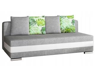 Rozkladacia pohovka s úložným priestorom Copparo - svetlosivá / biela / vzor