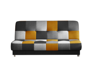 Rozkladacia pohovka s úložným priestorom Cosa - čierna / sivá / svetlosivá / žltá