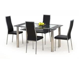 Sklenený jedálenský stôl Cristal - čierne sklo / priehľadné sklo / nerez
