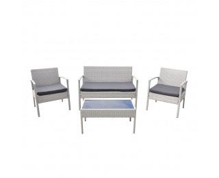 Záhradný nábytok z umelého ratanu Cruz - svetlosivá / sivá