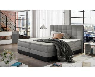 Čalúnená manželská posteľ s úložným priestorom Dalino 140 - svetlosivá / čierna
