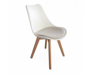 Jedálenská stolička Damara - biela / sivá / buk