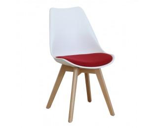 Jedálenská stolička Damara - biela / červená / buk