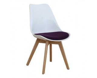 Jedálenská stolička Damara - biela / fialová / buk