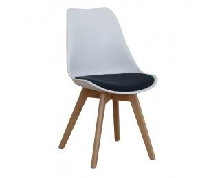 Jedálenská stolička Damara - biela / petrolejovosivá / buk