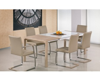 Sklenený rozkladací jedálenský stôl Demetrio - biela / dub sonoma