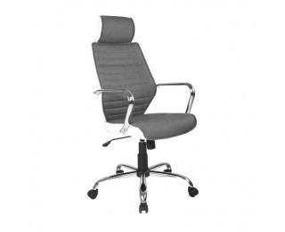Kancelárske kreslo s podrúčkami Denzel - sivá / biela