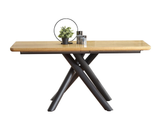 Rozkladací jedálenský stôl Derrick - dub prírodný / čierna
