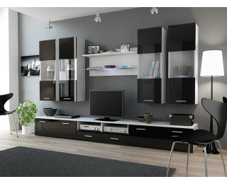 Obývacia stena Dream 1 - biely mat / čierny lesk