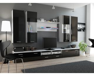 Obývacia stena Dream 2 - biely mat / čierny lesk