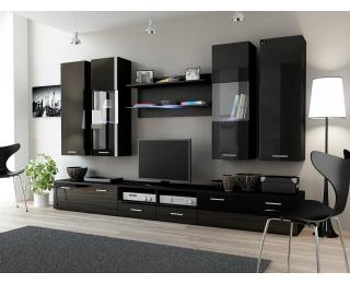 Obývacia stena Dream 2 - čierny mat / čierny lesk