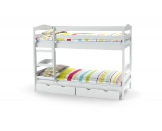 Drevená poschodová posteľ s roštami a matracmi Sam 80 - biela