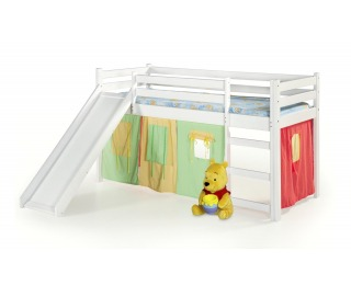 Drevená poschodová posteľ s roštom a matracom Neo Plus 80 - biela