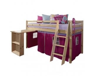 Drevená poschodová posteľ s roštom Alzena 90 - borovica / ružová