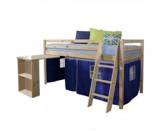 Drevená poschodová posteľ s roštom Alzena 90 - borovica / modrá