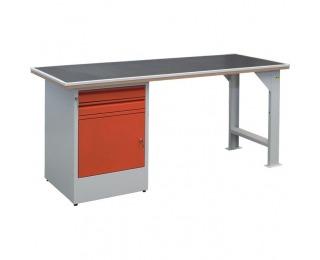 Pracovný stôl EFSS03MG/X2 - svetlosivá / červená