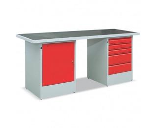 Pracovný stôl EFSS03MG/Z2T2 - svetlosivá / červená