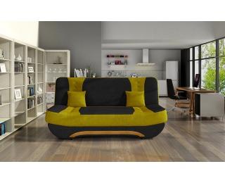 Rozkladacia pohovka s úložným priestorom Ella II - čierna / žltá
