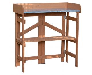 Záhradný stôl s policou Elsiro - jelša