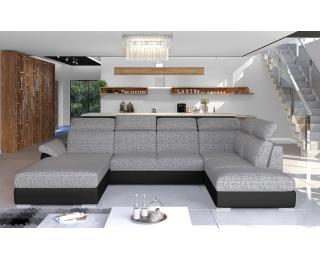 Rohová sedačka U s rozkladom a úložným priestorom Ermo U L - sivá / čierna