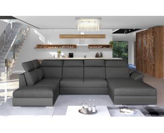 Rohová sedačka U s rozkladom a úložným priestorom Ermo U L - tmavosivá / sivá