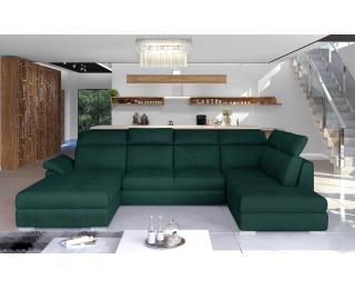 Rohová sedačka U s rozkladom a úložným priestorom Ermo U P - tmavozelená
