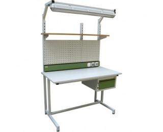 Montážny stôl ESD s nadstavbou a osvetlením ESD - svetlosivá / zelená