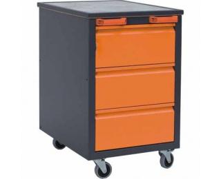 Mobilný kontajner k pracovnému stolu na kolieskach F1 - grafit / oranžová