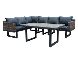 Záhradný nábytok z umelého ratanu Ferrara - hnedá / čierna / tmavosivá