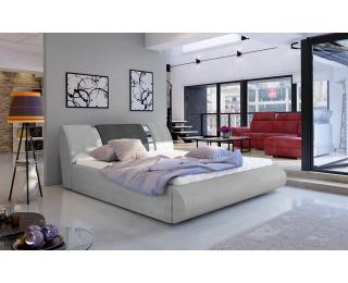 Čalúnená manželská posteľ s roštom Folino 160 - svetlosivá / tmavosivá
