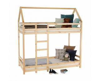 Poschodová posteľ s roštami Freya 90x200 cm - prírodná