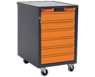 Mobilný kontajner k pracovnému stolu na kolieskach G1 - grafit / oranžová