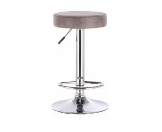 Barová stolička Galvin - sivohnedá / chróm