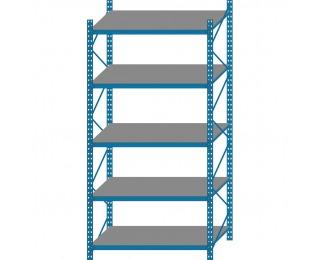 Kovový policový regál s DTD policami GCG - modrá