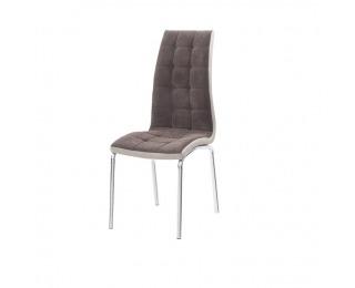 Jedálenská stolička Gerda New - hnedá / béžová / chróm