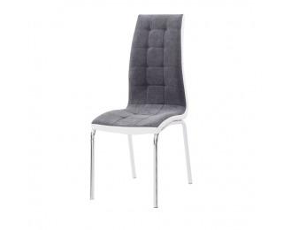 Jedálenská stolička Gerda New - tmavosivá / biela / chróm