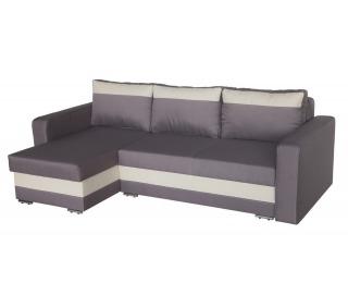 Rohová sedačka s rozkladom Aleksander L/P - krémová ekokoža / šenil sivý (mura)