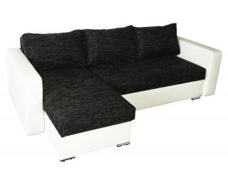 Rohová sedačka s rozkladom Aleksander L/P - biela ekokoža / berlin 2