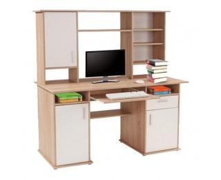 PC stolík s nadstavbou Clip - dub sonoma / biely mat