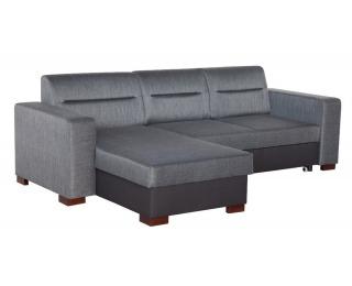 Rohová sedačka s rozkladom a úložným priestorom Enzo L/P - šenil sivý (Corona 79) / sivá (Neo 21)
