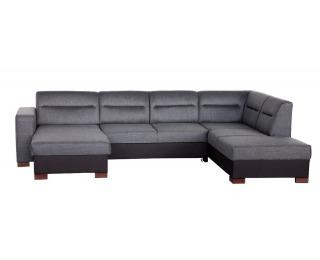 Rohová sedačka U s rozkladom a úložným priestorom Enzo XL P - šenil šedý (Corona 79) / čierna (Neo 2