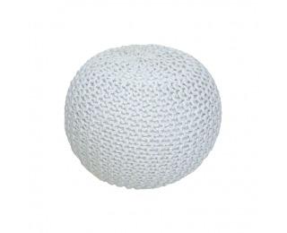 Pletená taburetka Gobi Typ 2 - smotanová / biela melírovaná