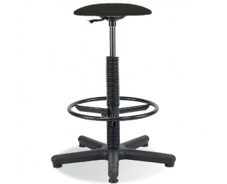 Dielenská stolička s čalúneným sedákom Goliat/Ring Base - čierna