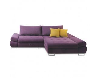 Rohová sedačka s rozkladom a úložným priestorom Gres P - fialová / horčicová