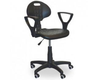 Dielenská stolička na kolieskach s lakťovou opierkou GTP - čierna