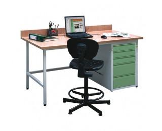 Dielenský PC stôl H - svetlosivá / zelená