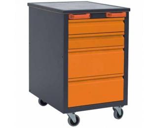 Mobilný kontajner k pracovnému stolu na kolieskach H1 - grafit / oranžová